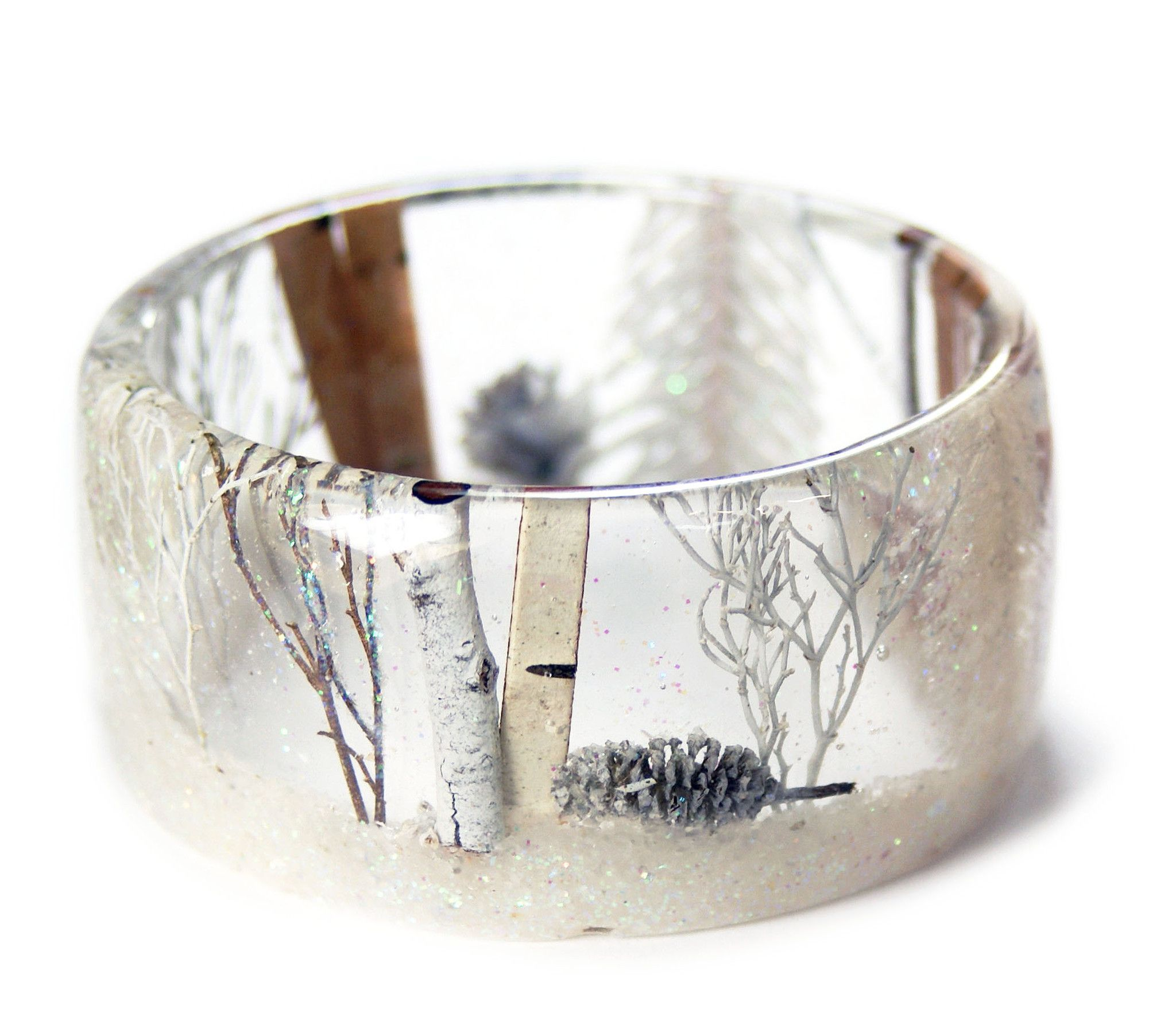 Magical Winter Forest Resin Bracelet Resin Jewelry