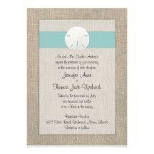 Sand Dollar Beach Wedding Invitation - Turquoise