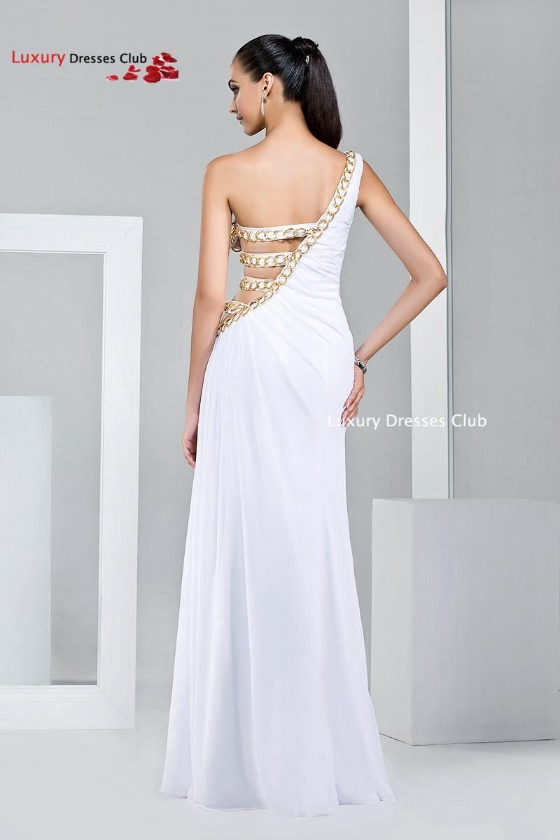long white prom dresses plus size hollow out women one shoulder