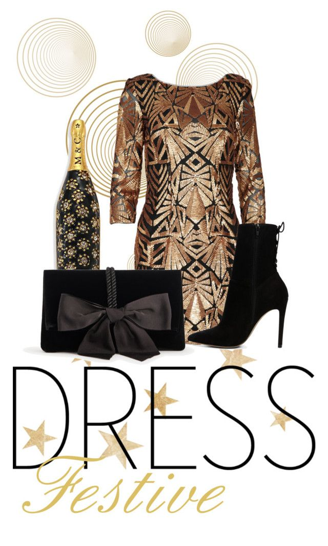 """""""Festive Gold"""" by alliweb ❤ liked on Polyvore featuring Marc Jacobs, ALDO and Ann Taylor"""