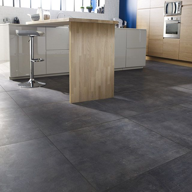 Carrelage sol et mur gris 80 x 80 cm cloud castorama for Cuisine carrelage anthracite