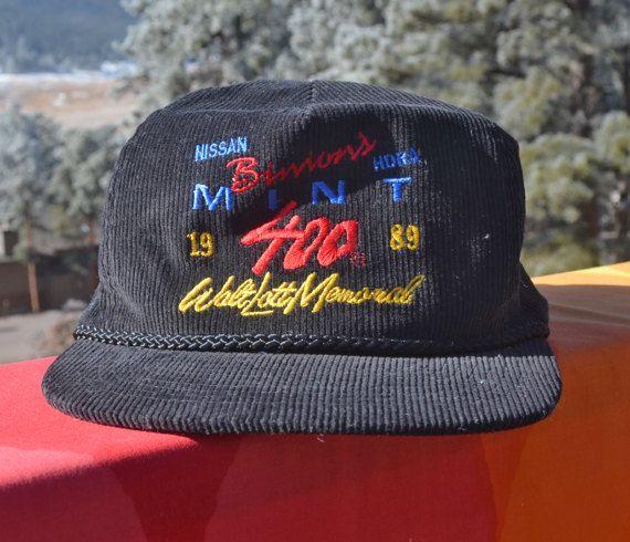579167437c2cec vintage 80s corduroy hat BINION'S MINT 400 car race nascar black ...