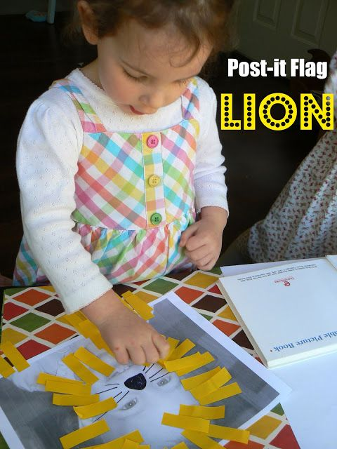 toddler craft post it flag lions pinterest lions flags and crafts
