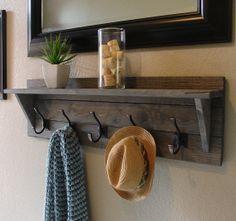 Rustic Weathered 5 Hanger Hook Coat Rack With Shelf   Handmade Item
