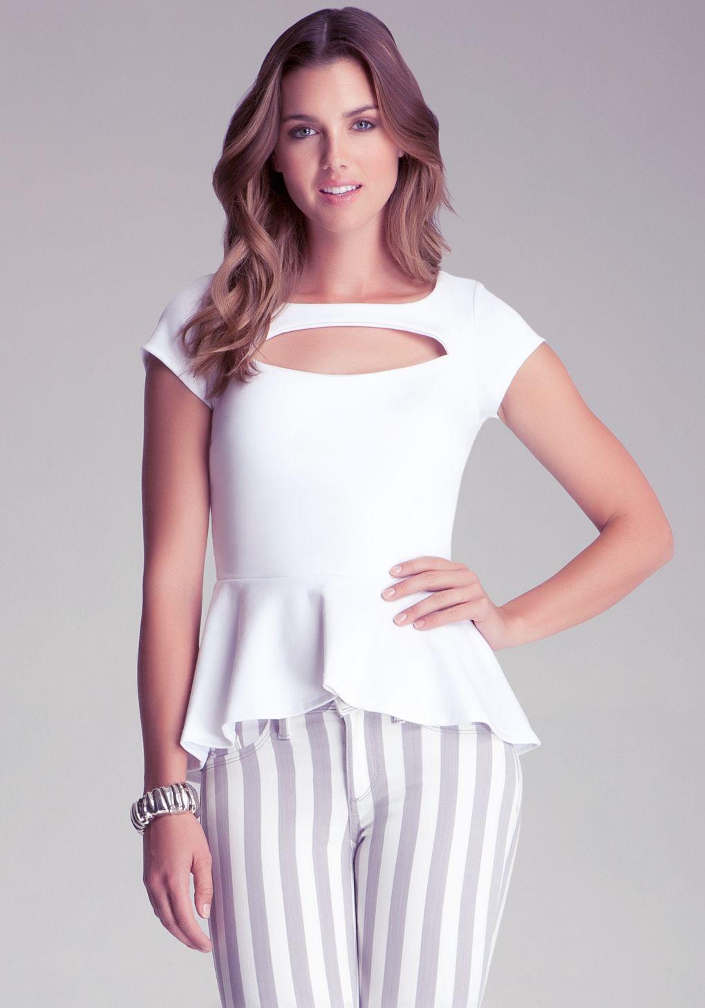33ed3b978d Bebe Peekaboo Peplum Top in White   Lyst   Tops   Fashion, Tops, Peplum