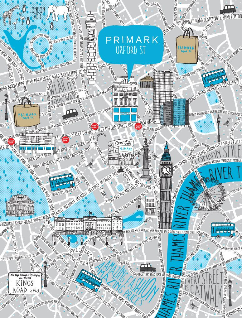 Primark Illustrated Map Oxford Street London Eleanor Stevenson