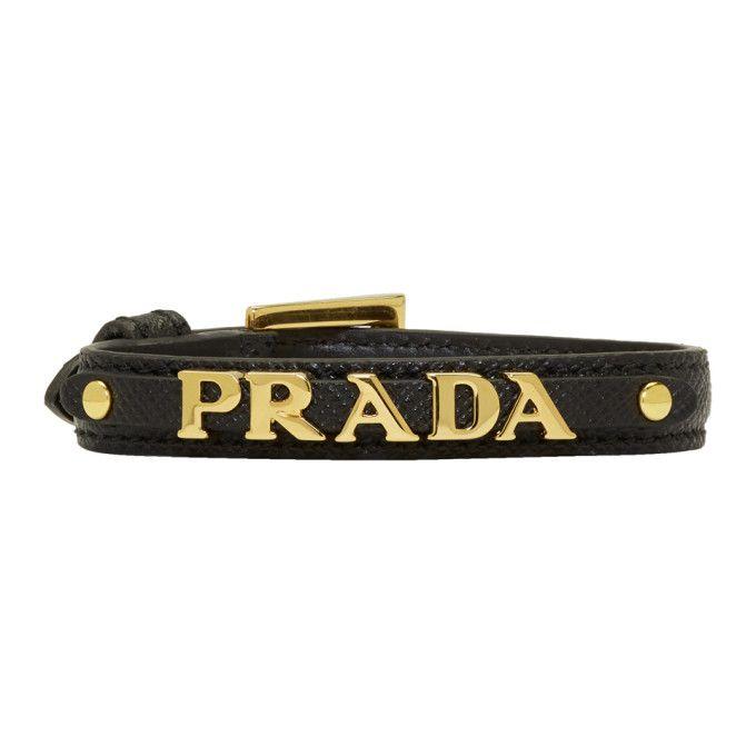 Bracelet Saffiano Noir Prada iXJv22nMH