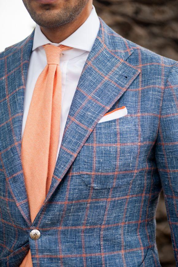 Men's Blue Check Wool Blazer, White Dress Shirt, Orange Wool Tie ...