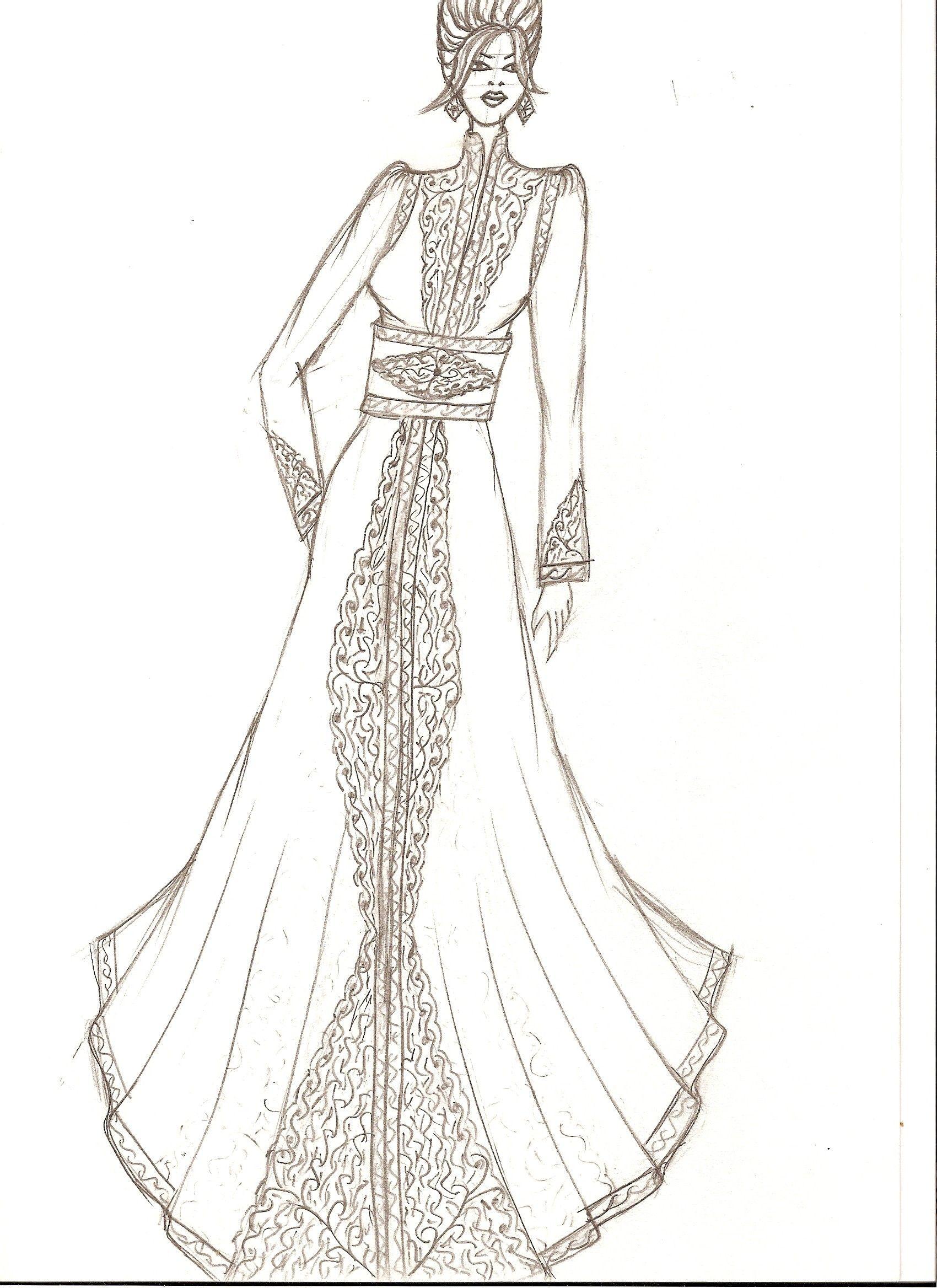 Croquis de caftan 2010 par kaoutar arhezroq haute couture - Dessin de couture ...