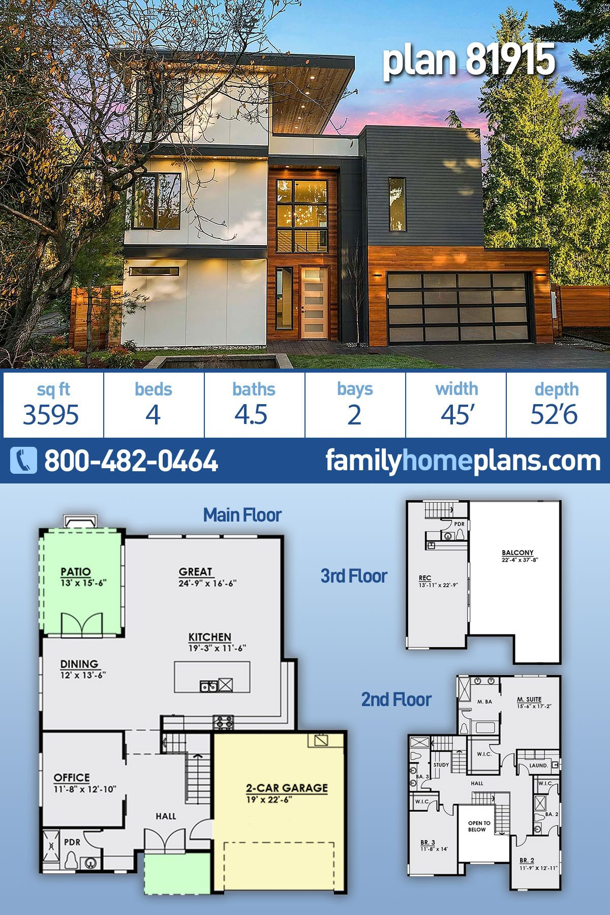 Modern Style House Plan 81915 With 4 Bed 5 Bath 2 Car Garage Modern Style House Plans Modern House Plans Small House Design Architecture