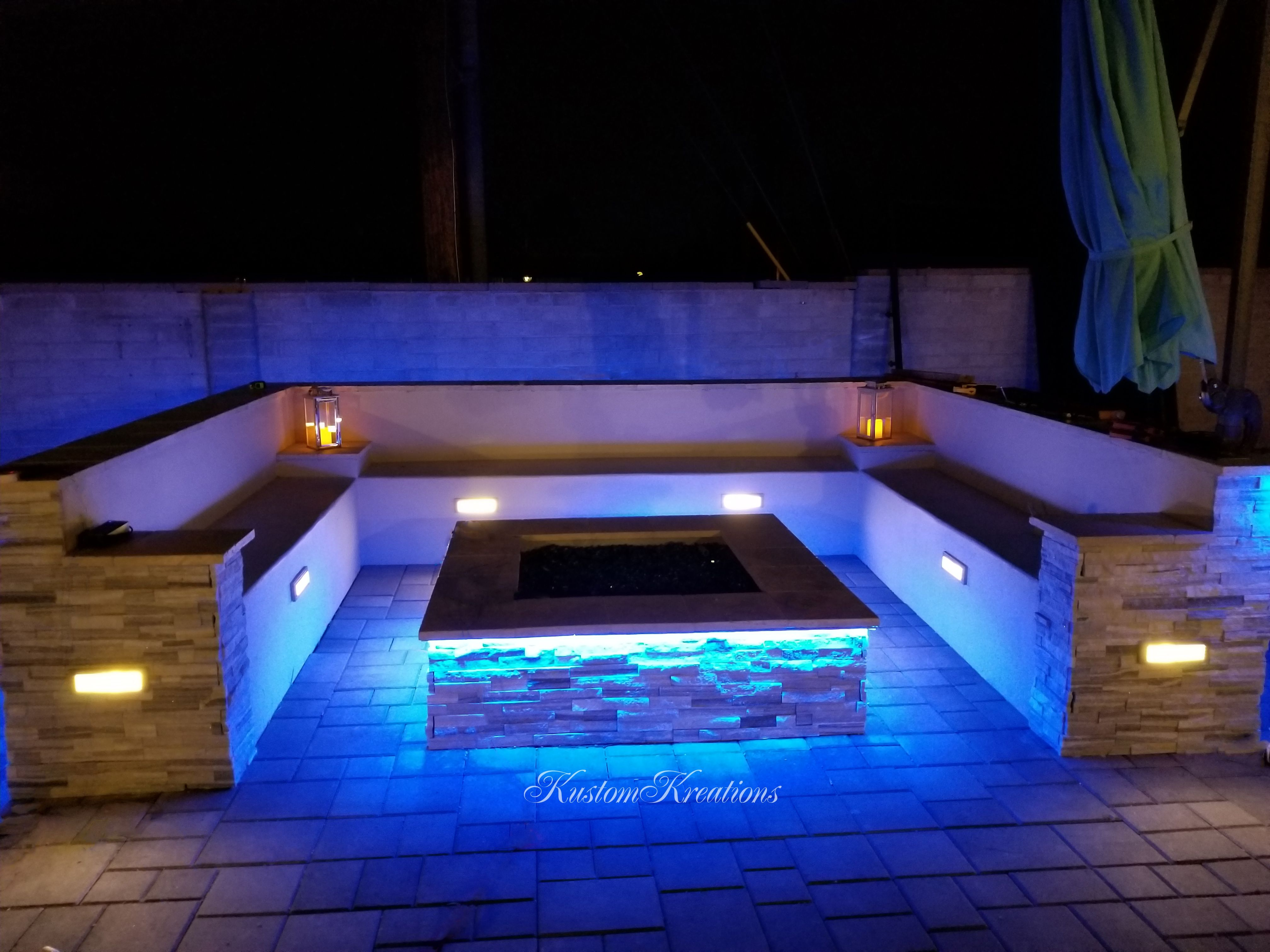 Custom Designed Fire Pit With Bluetooth Controlled Led Lighting
