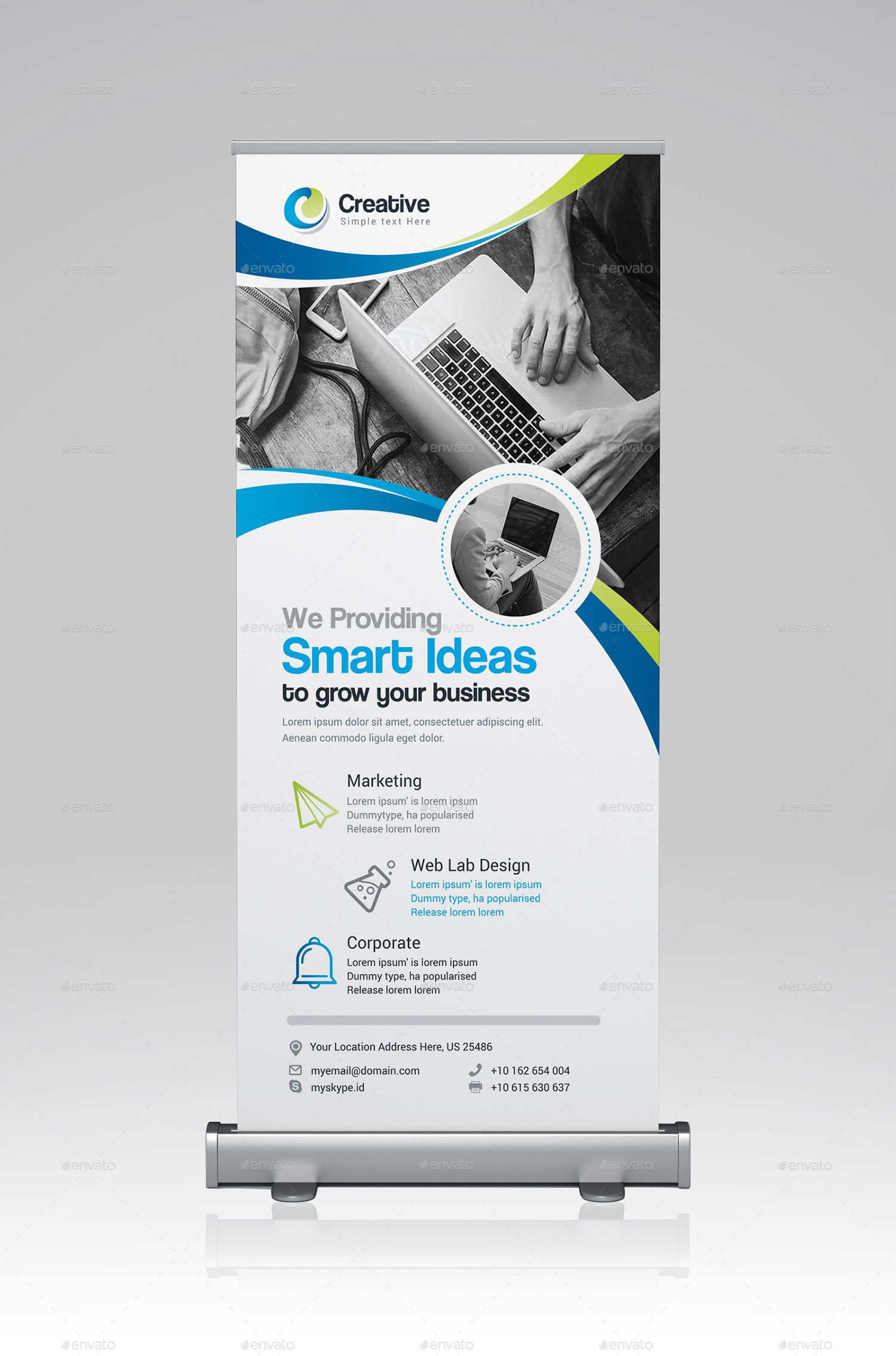 Roll Up Banner Logo Infographic Banner Cool Business Cards