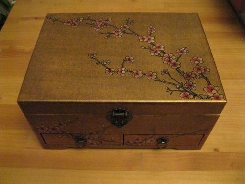 Feng Shui Cherry Blossom Gold Tone Leather Covered Solid Wood