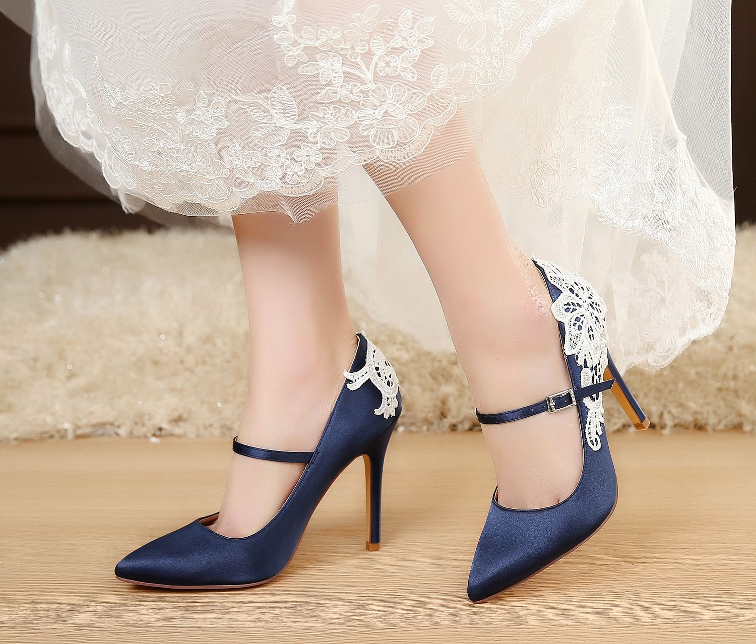 satin, Mary Jane Shoes High Heels, Blue Wedding Shoes Closed Toe, Designer Shoes for Wedding Bride, Sexy Wedding Shoes High Heel 4.5 inch, Women shoes combaining with White Lace and Blue Satin