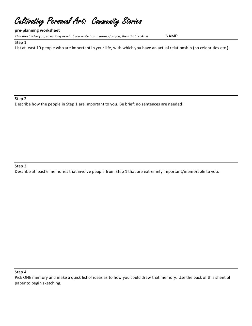 Creating Community Stories A Preplanning Worksheet For