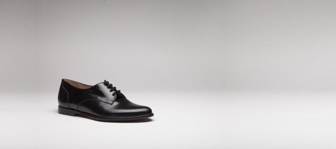 Derbies à lacets en cuir noir