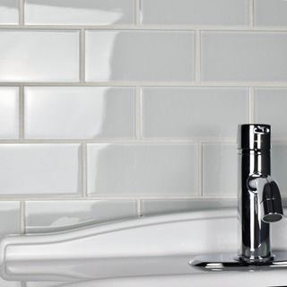 Bath also shop for somertile  in reflections subway ice white glass tile