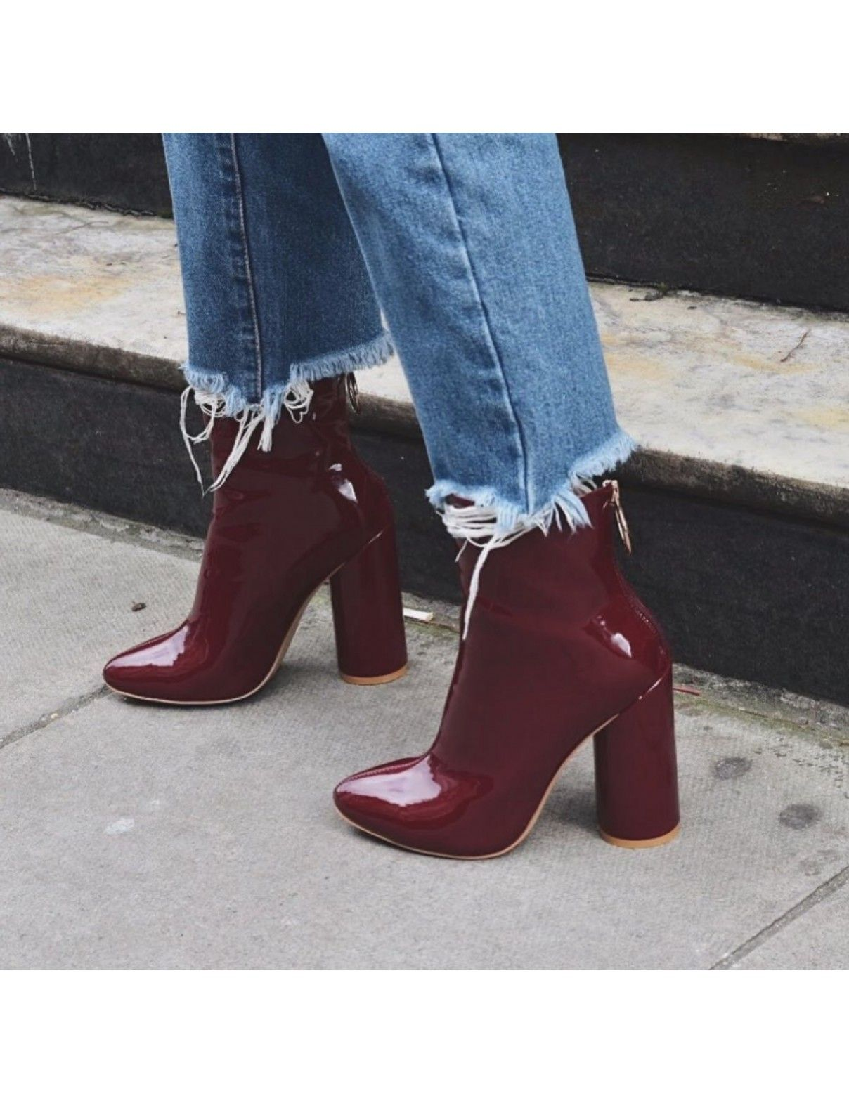 Our LEVEL UP heeled women s burgundy patent ankle boots have a back zip  fastening 6b95398c533f