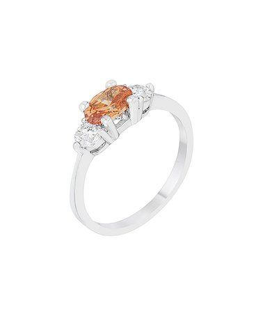 Look what I found on #zulily! Champagne Cubic Zirconia & Silvertone Oval-Cut Ring #zulilyfinds