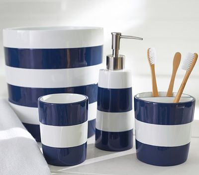 Navy Stripe Bath Accessories With Images Nautical Bathroom