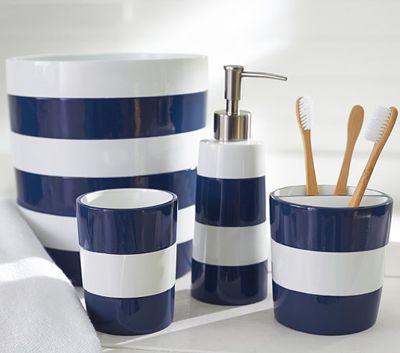 Navy Stripe Bath Accessories Nautical Bathroom Decor Blue Bathroom Decor Navy Bathroom