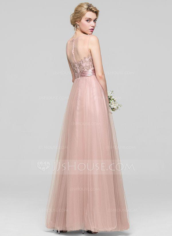 f3d992d3d7090d A-Line/Princess Scoop Neck Floor-Length Tulle Bridesmaid Dress With Ruffle