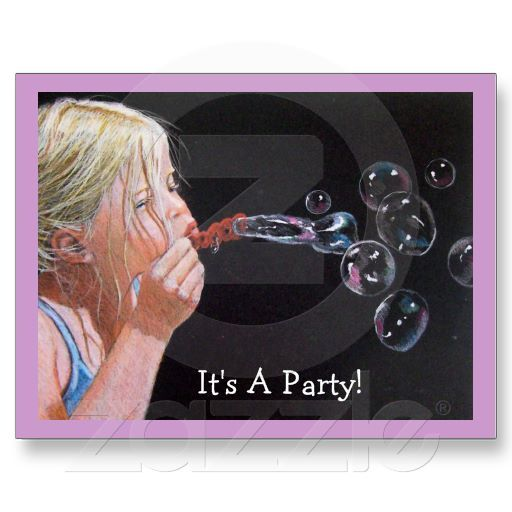 Girl Blowing Bubbles: Birthday Party Invitation: Post Cards: Original Color Pencil Drawing.  Available at www.zazzle.com/joyart.