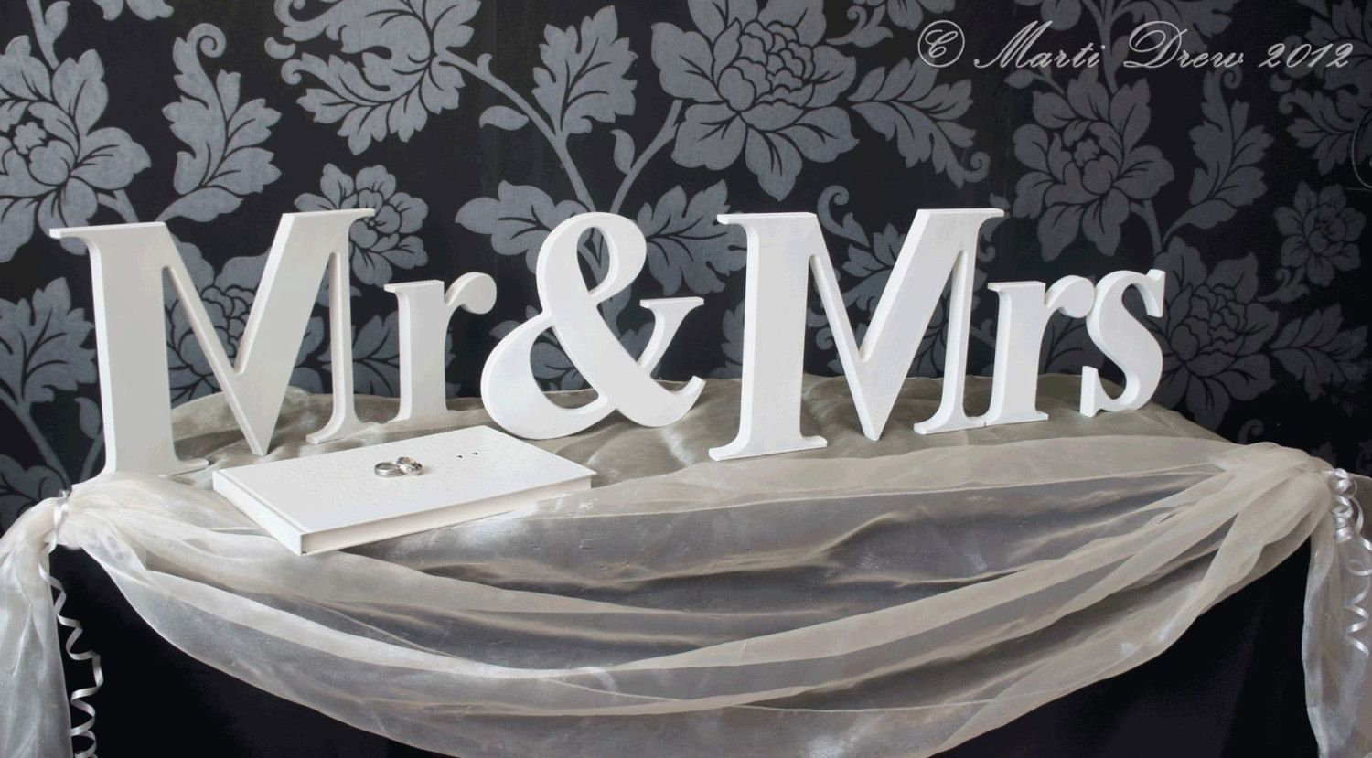 mr mrs wedding letters cute idea for reception entrance table
