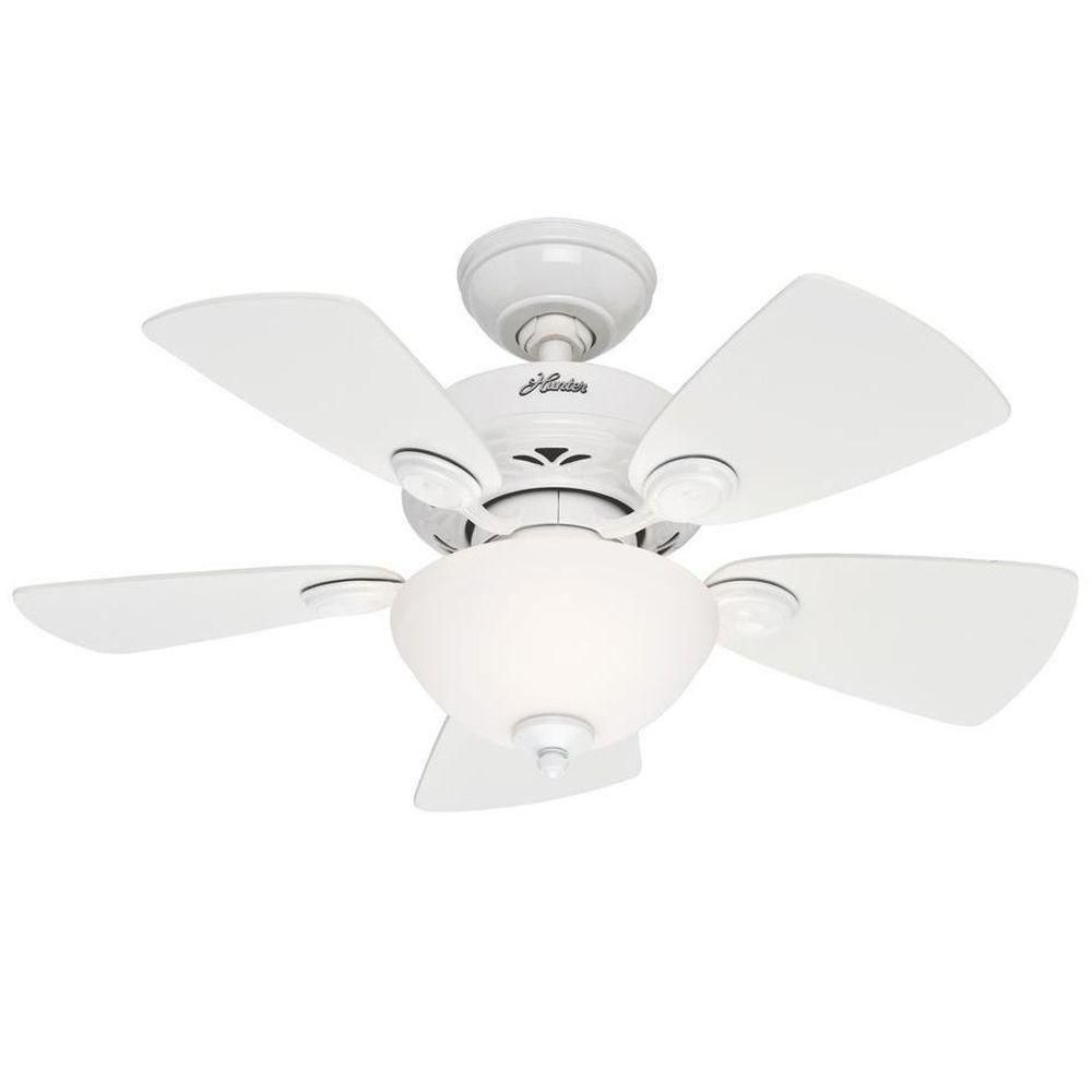 Hunter Watson 34 In Indoor White Ceiling Fan With Light Kit 52089 The Home Depot