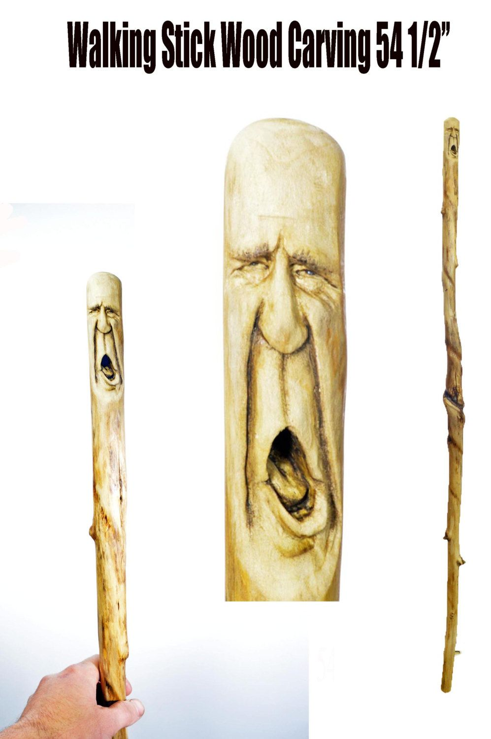 Reserved for andrew walking stick wood carving hand
