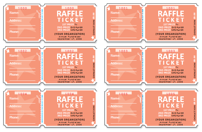 Free Raffle Ticket Templates For Word  Free Ticket Templates For Word