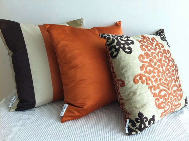SET of 3 Damask orange, dark brown and otter designer fabric cushion covers, Slip cover, throw ...