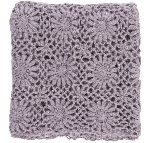 Lavender Fleur Crochet Knit Throw Blanket Teen Tween