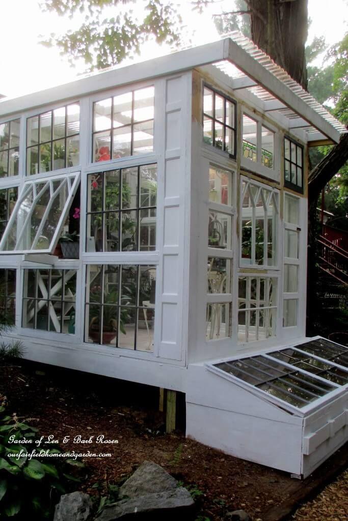 Shabby Landhaus Alte fenster, Windschutz terrasse, Haus