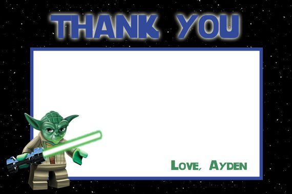 STAR WARS Thank You card. Instead of using these as a Thank You, I could have the top changed to be well wishes cards for Dominic!
