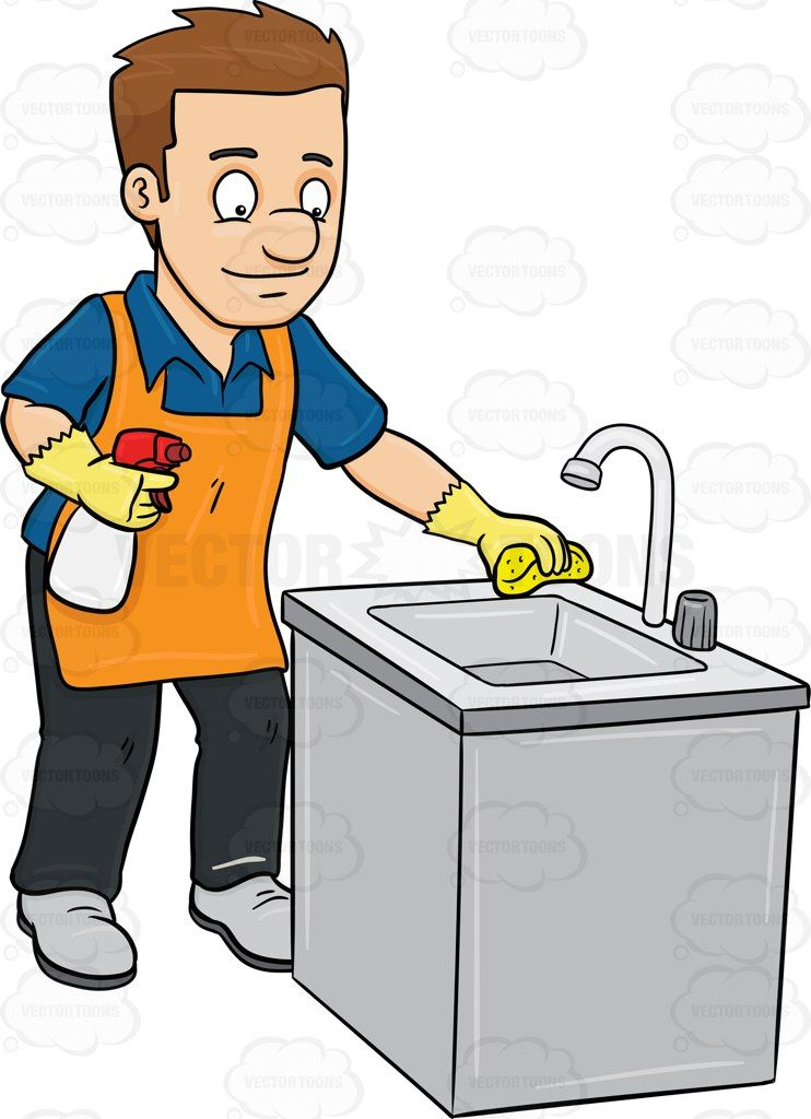 A Man Polishing The Kitchen Sink Stock Cartoon Graphics Vector Toons