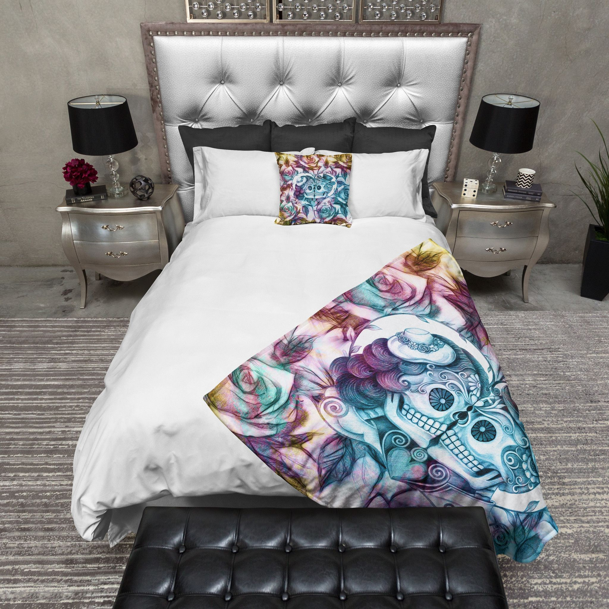 Hybrid Kissing Sugar Skull Deluxe Duvet Bedding Sets | Best Bed ...