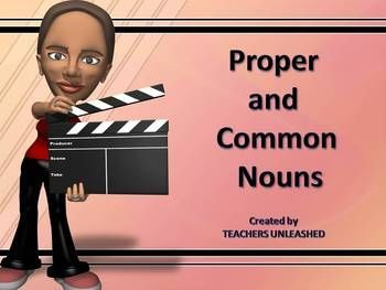 $  This 34 slide presentation will give your students an abundance of opportunities to learn about common and proper nouns in a variety of different ways. From fixing sentences to test prep style questions, your students will be able to understand proper nouns and how to write them properly. Your students will love the animations, and remain engaged while you teach them this standard.   By Teachers Unleashed
