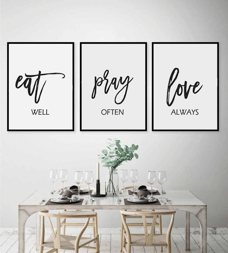 Eat Pray Love Printkitchen Wall Artset Of 3 Printabledining Etsy Kitchen Wall Art Set Dinning Room Wall Decor Dining Room Wall Art