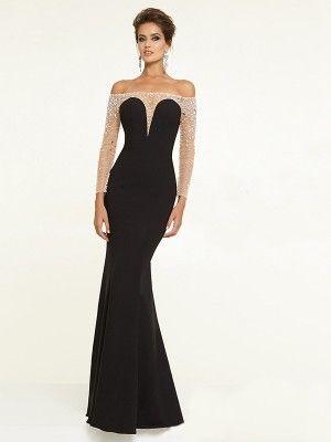 Kleid lang carmen ausschnitt