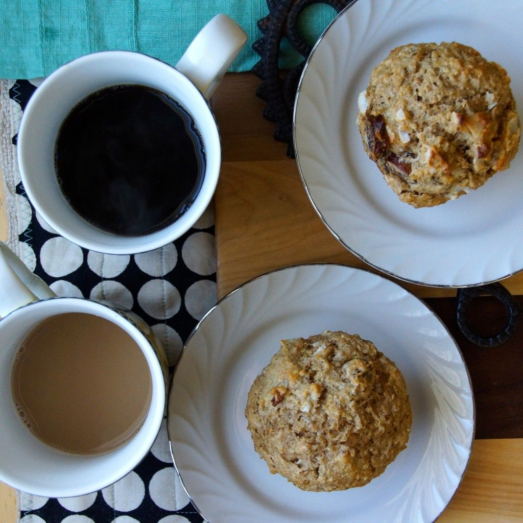 Date, Coconut & Pecan Quinoa Muffins- wholesome, hearty muffins perfect for a weekday breakfast