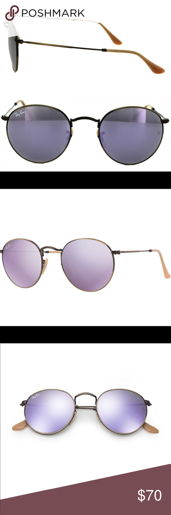 c1c7f77124 New Ray-Ban lilac RB3447 Round Metal 167 4k RAY-BAN RB3447 ROUND METAL Frame  Color  167 4K Demiglos Brusched Bronze Lens Color  Lillac Mirror Polarized  ...