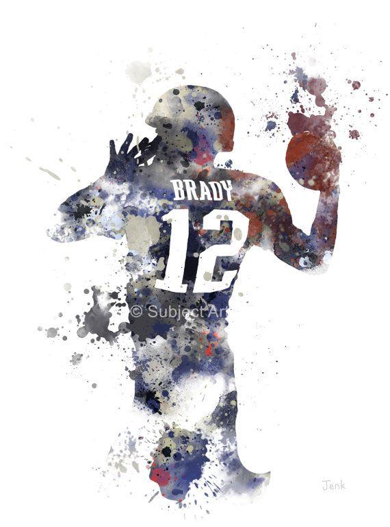 Tom Brady Art Print Illustration New England By Subjectart On Etsy Tom Brady Art Sports Art Tom Brady Wallpaper