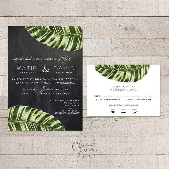 Botanical Palm Leaf Wedding Invitation, Tropical Palm, Banana Leaf - fresh sample wedding invitation tagalog version