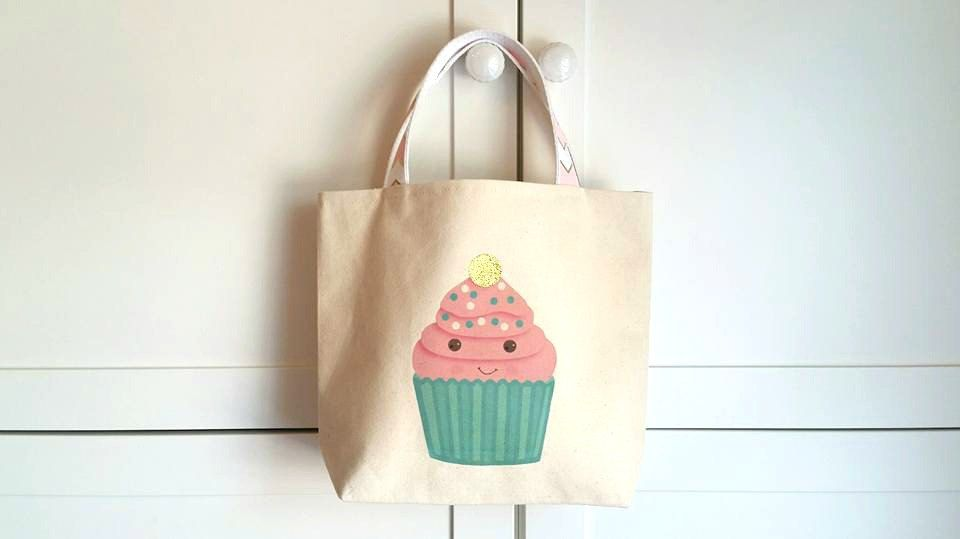 Cupcake Toteglitter BagHappy FoodBirthday Gift Bag For Her