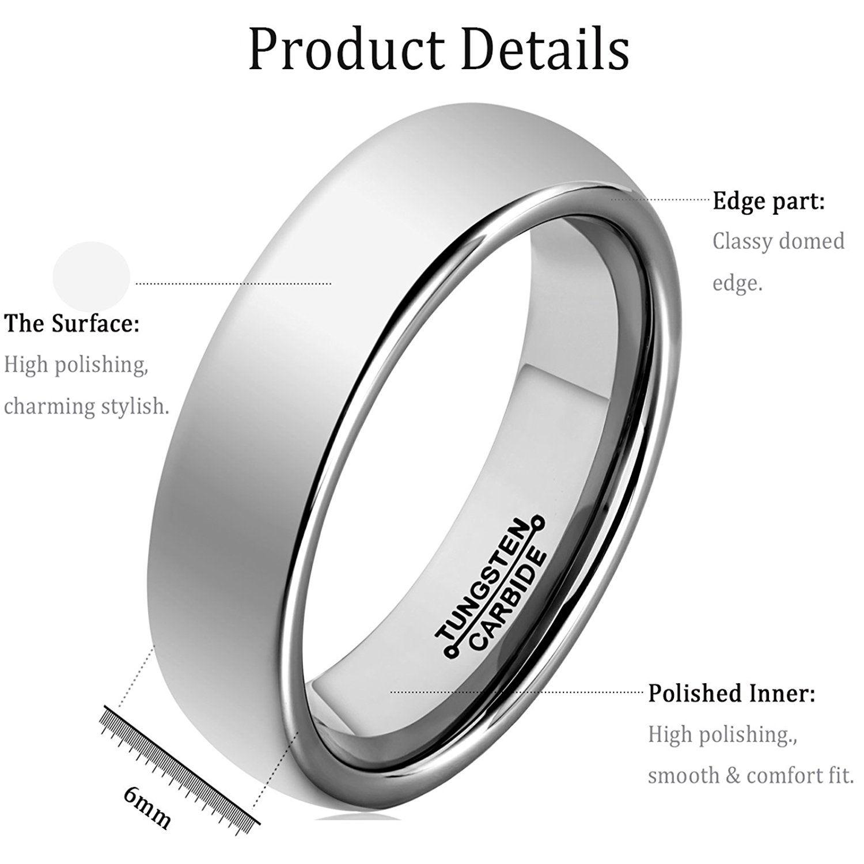 MNH Tungsten Carbide Men 6mm Wedding Engagement Band