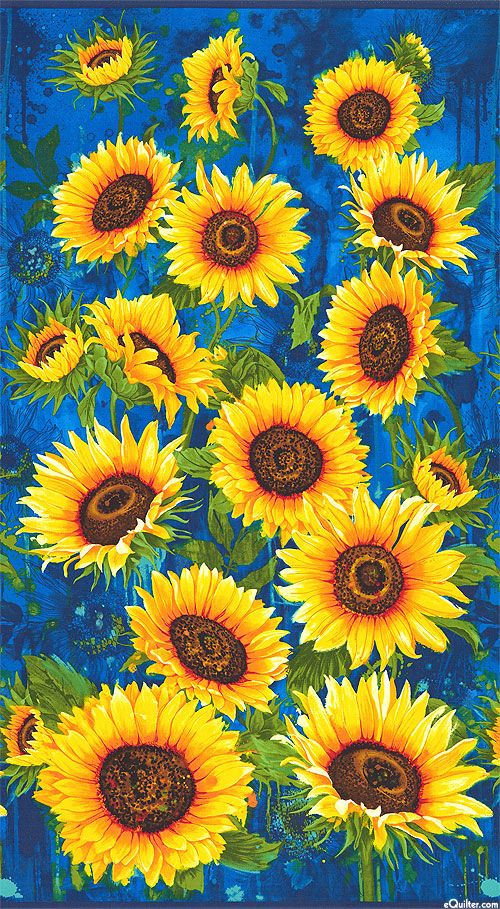 21++ Blue fabric with sunflowers ideas