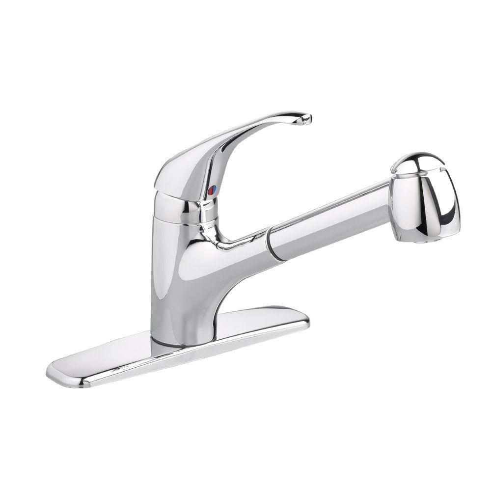 American Standard Reliant Plus Single Handle Pull Out Sprayer Kitchen Faucet In Polished Chrome Stainless Steel Faucets Faucet Kitchen Faucet Repair