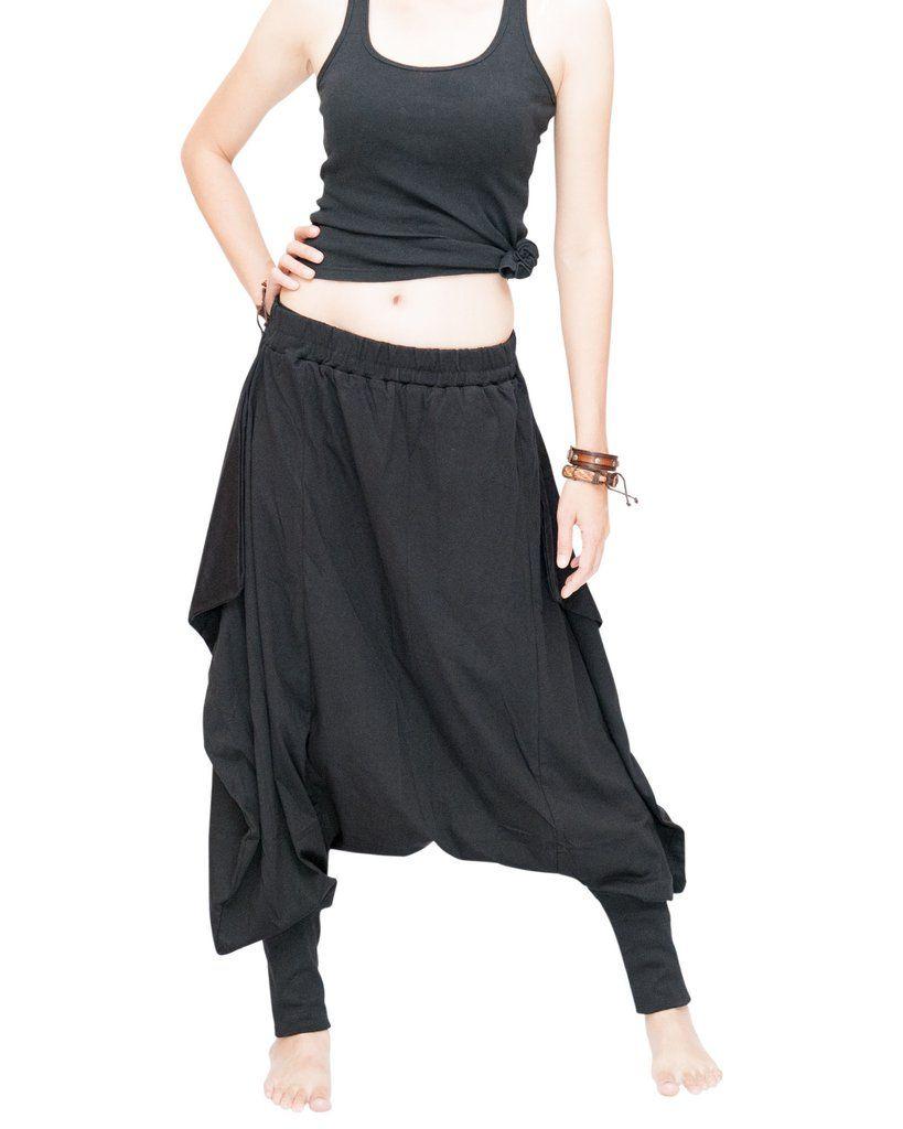 6862ef721 Tribal Low Crotch Baggy Tobi Pants Stretch Jersey Cotton (Black ...