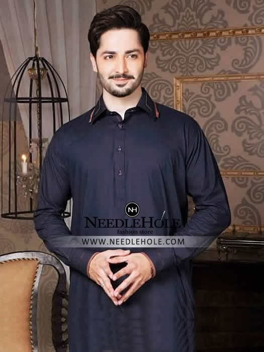 Resplendent kurta shalwar suit for men in dark sapphire colour